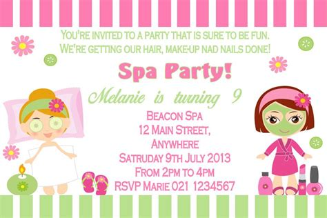 Princess Bedroom Ideas by Personalised Spa Pamper Party Theme Invitation