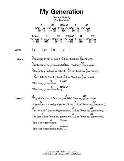 my chords my generation sheet by the who lyrics chords 44688
