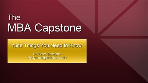 What Is Mba Capstone by The Mba Capstone Nine Things You Need To