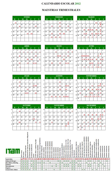 Calendario Escolar Posgrados Itam Calendario Escolar