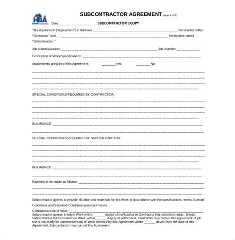 subcontractor contract template 10 subcontractor agreement templates free sle