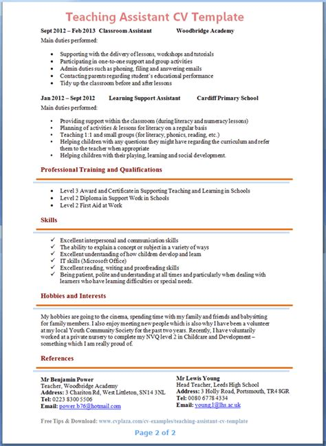 Curriculum Vitae Teacher by Teaching Assistant Cv Example 2