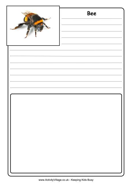 bee writing paper bee notebooking page