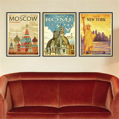 Home Decor Stores New York by Aliexpress Buy Triptych Vintage Retro New York Rome