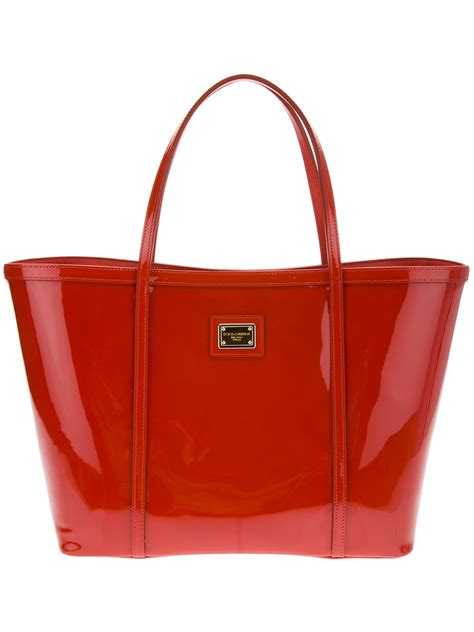 Dolce And Gabbana Patent Tote Bag by Dolce Gabbana Patent Shopper Tote In Orange Lyst