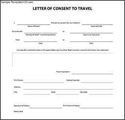 notarized letter of authorization template notarized letter of consent to travel pdf