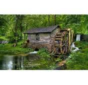 Forest Beauty Water Mill House HD Wallpaper