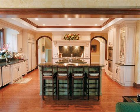 White Cupboards With Wood Trim - wood trim white cabinets houzz