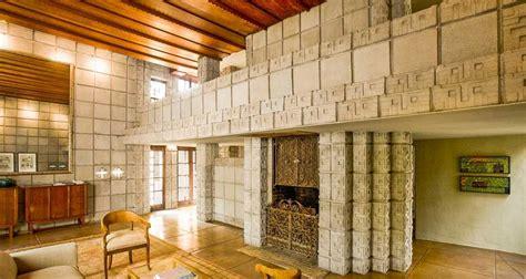 frank lloyd wright home interiors frank lloyd wright millard house concrete block interior