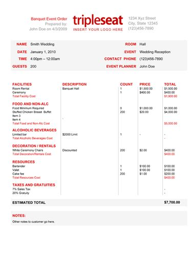 How To Create A Banquet Event Order Template Tripleseat Event Order Template