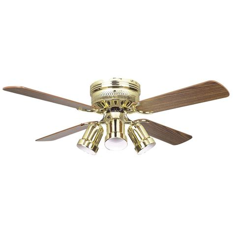 Brass Ceiling Fan With Light Radionic Hi Tech Palilly 42 In Polished Brass Ceiling Fan With Light Kit And 4 Blades Lum Fan