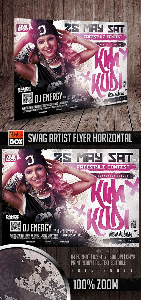 Swag Artist Flyer Horizontal Speakers Flyers And Photoshop Horizontal Flyer Template