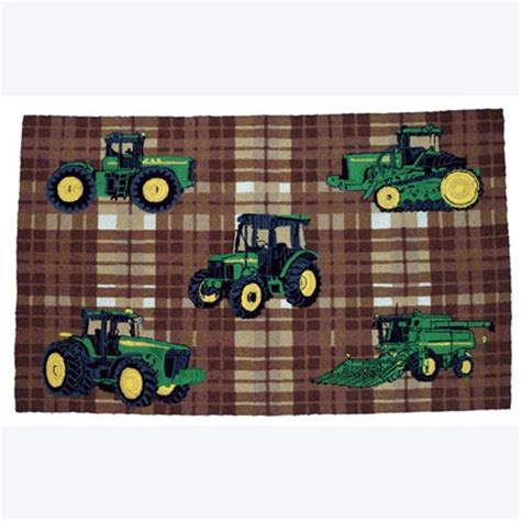 John Deere Traditional Plaid Pattern Area Rug Tractor Up Deere Area Rug