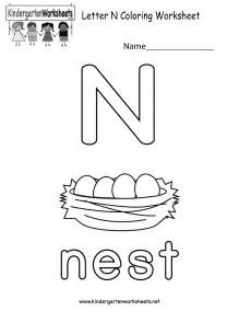 free printable letter n coloring worksheet for kindergarten