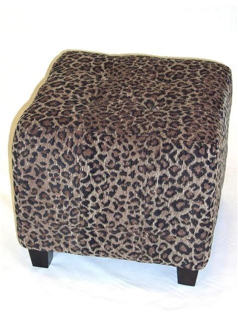 Leopard Print Ottoman 4d Concepts Leopard Ottoman In Leopard Print Cloth Modern Footstools And Ottomans By