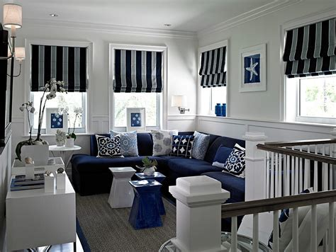 drapes and valance transitional miami by maria j window treatments and home d 233 cor miami navy white curtains family room transitional with blue accents tufted sectional sofas