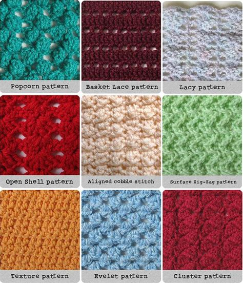Crochet Pattern Types | different crochet stitches crochet stitches pinterest
