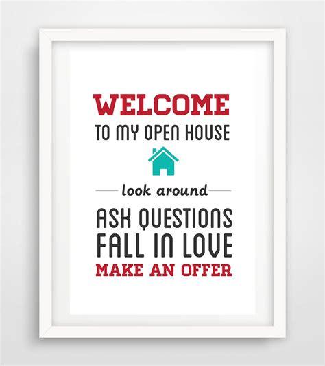 printable open house sign realtor real estate open house sign artwork digital print