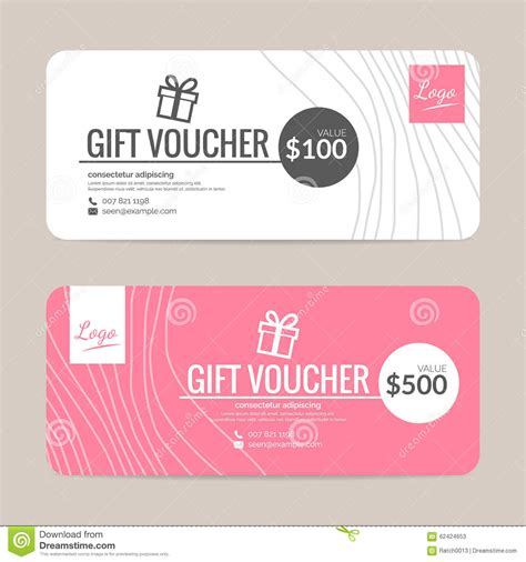 template for gift certificate the size of gift cards gift voucher template stock vector illustration of