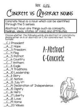 Concrete vs Abstract Nouns American style by Newman's