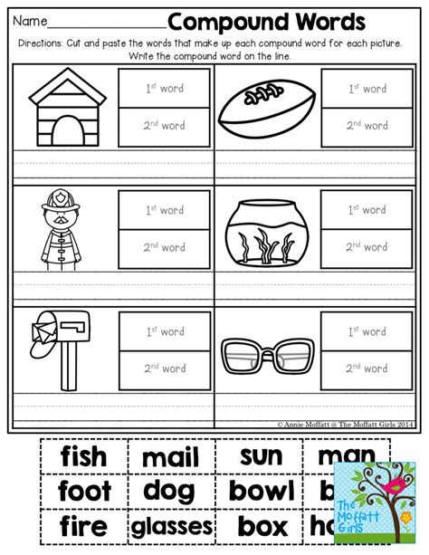 printable compound word games for second grade compound words kindergarten boxfirepress