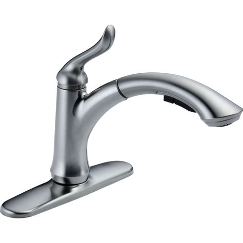 delta faucets for kitchen delta faucet 4353 ar dst linden arctic stainless pullout spray kitchen faucets efaucets com