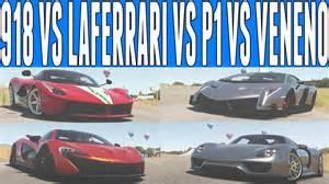 Laferrari Vs Lamborghini Veneno Forza Horizon 2 Versus Porsche 918 Spyder Vs Mclaren P1