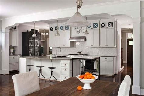 french marble top kitchen island transitional kitchen industrial draftsman stools white shaker kitchen