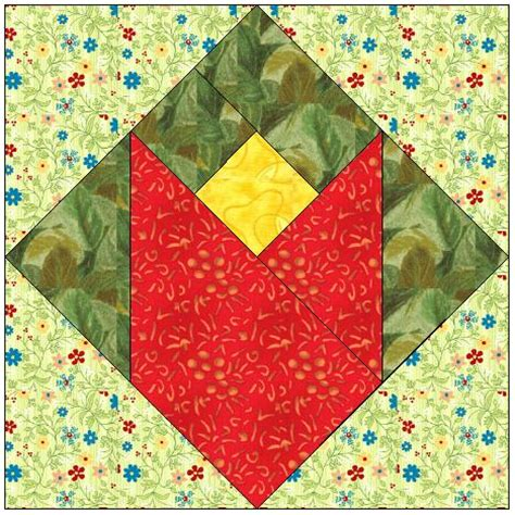 Free Tulip Quilt Block Pattern by All Stitches Tulip Paper Piecing Quilt Block Pattern Pdf 010a Allstitches Patterns