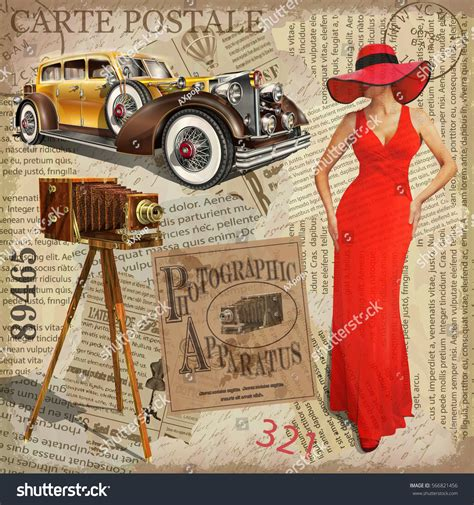 imagenes vintage retro vintage poster vintage camera pretty women stock vector