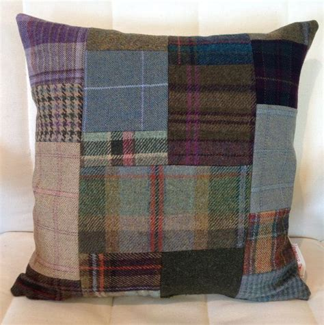 Tweed Patchwork - shetland tweed patchwork cushion sewing projects