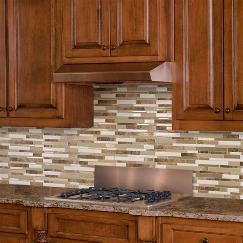 Wall Tile For Kitchen Backsplash Smart Tiles Sasso Approximately 3 In W X 3 In H Brown And Beige Decorative Mosaic Wall