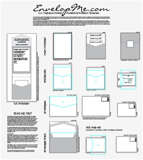invitation illustrator template pocketfold design templates envelopme
