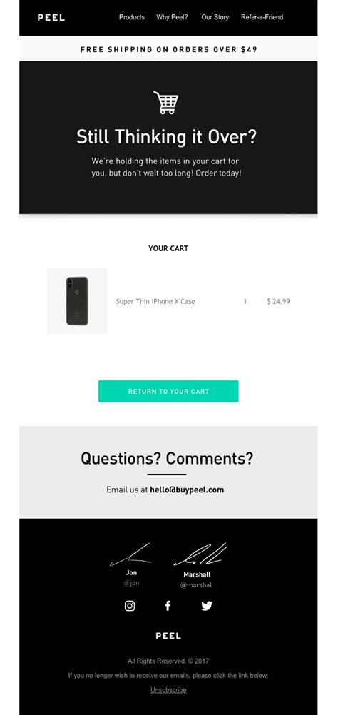 Need Abandoned Cart Email Inspiration Here Are 7 Templates You Can Steal Hive Co Abandoned Cart Email Template