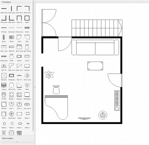 draw a floor plan draw io floorplan stencils draw io