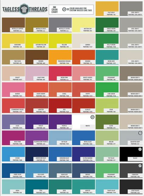 ink color common t shirt ink colors pms colors graphic design