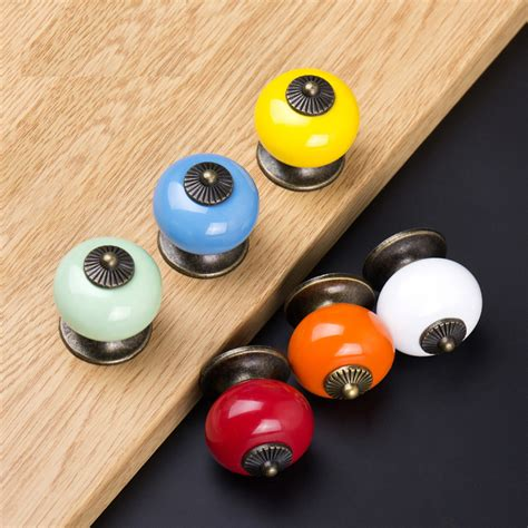 colorful kitchen cabinet knobs tower type single hole ceramic knobs colorful furniture