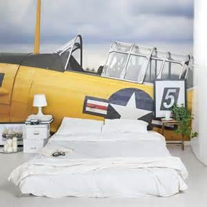 Airplane Wall Mural Vintage Yellow Plane Wall Mural