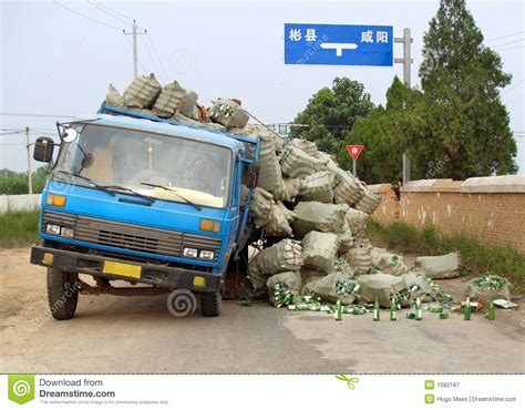 overloaded chinese truck accident royalty  stock
