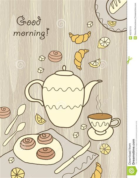 tea card template customize tea coffee and on wooden background stock vector