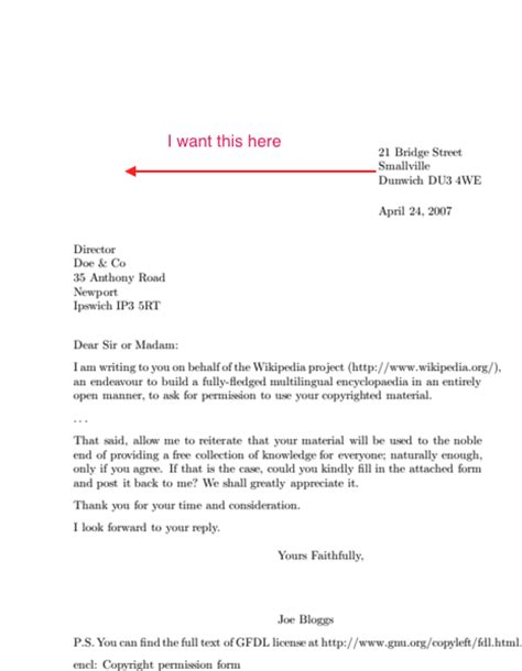 Appeal Letter Ps Cover Letter With Sender And Recipient On The Left Side Tex Stack Exchange