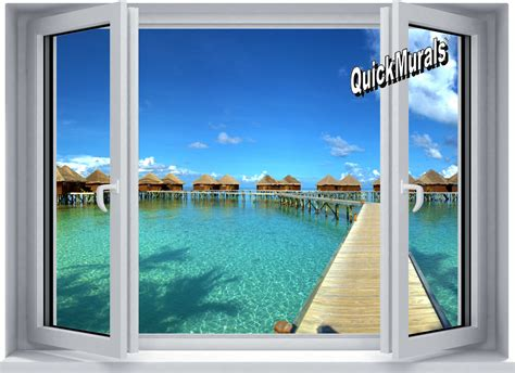 wall mural window maldives resort window wall mural