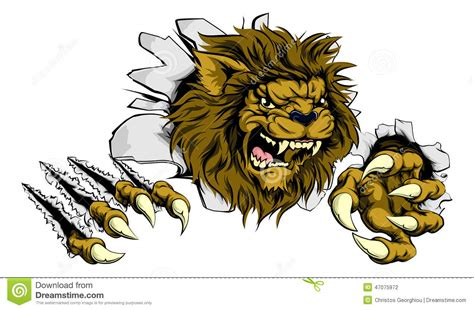 lion ripping through background stock vector image 47075972