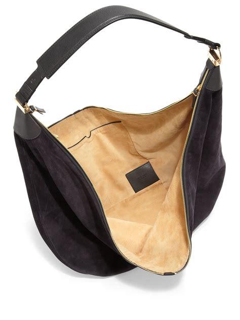 Sling Bag Suede Awir the row sling 15 suede hobo bag in blue lyst