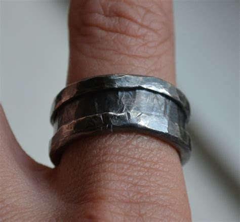 Handmade Mens Wedding Bands - mens wedding band rustic and sterling silver ring