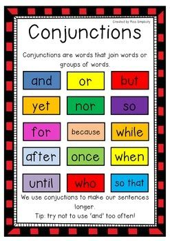 art writing colors reference referenceforwriters freebie conjunctions poster 1 page color poster great