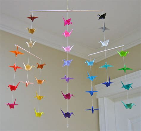 Origami Bird Mobile - origami crane mobile colour wheel contemporary mobile