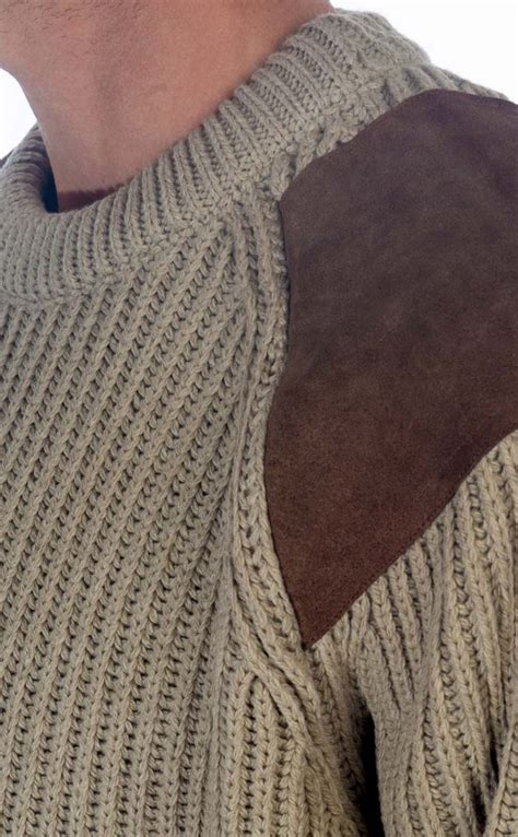 heavy knit heavy knit wool sweater with suede patches by scotweb