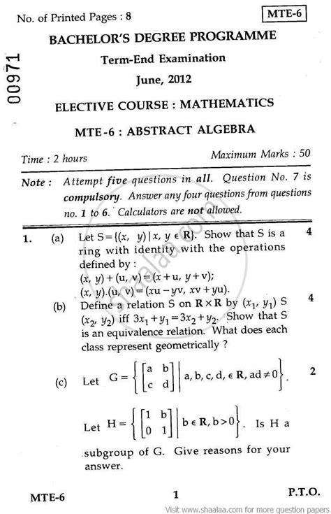 thesis on abstract algebra abstract algebra elective 2012 june science