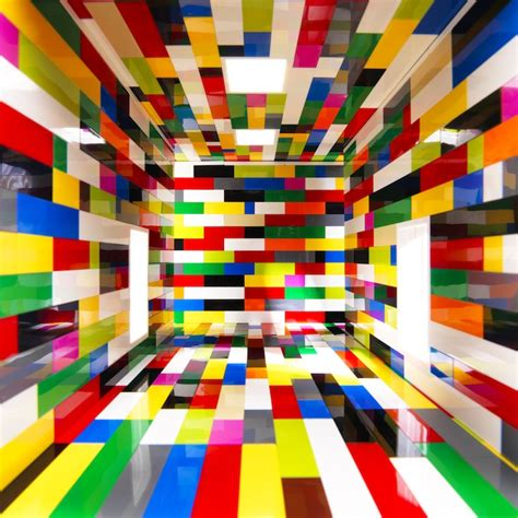 behind the life size lego room illusion